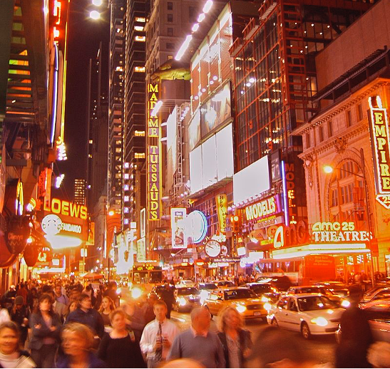neon signs in times square